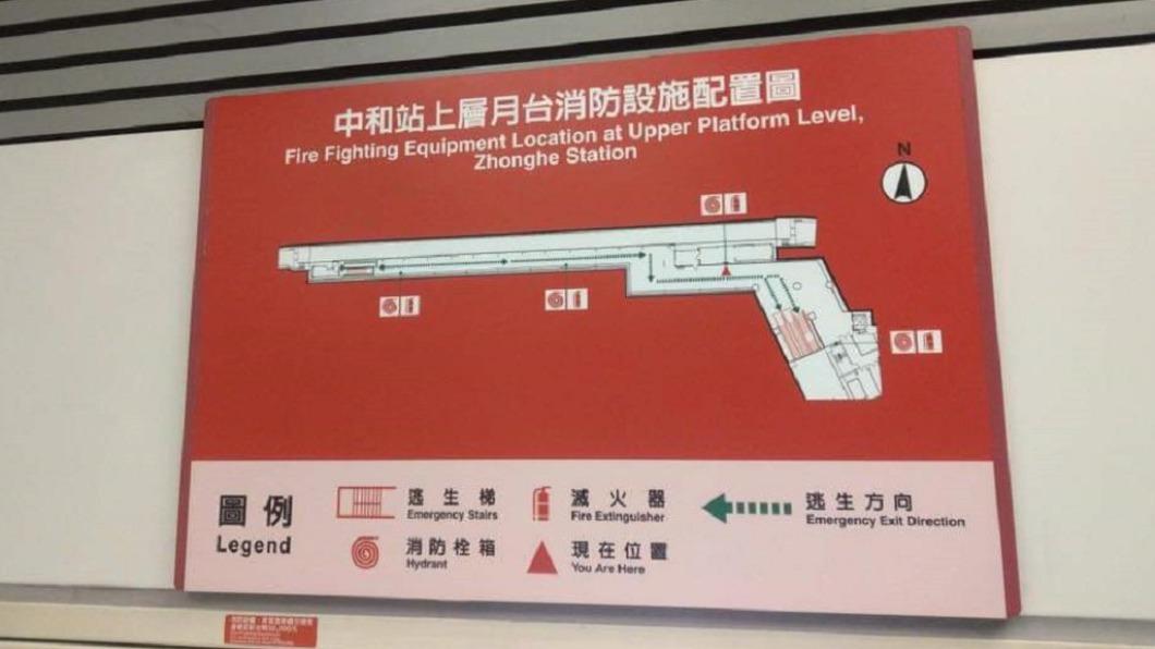新北市捷運中和站內的消防配置圖酷似一把長槍。(圖/翻攝自u/Libecht Reddit) 中和捷運站「1把槍」掛牆上紅到國外!網笑:工程師藏彩蛋