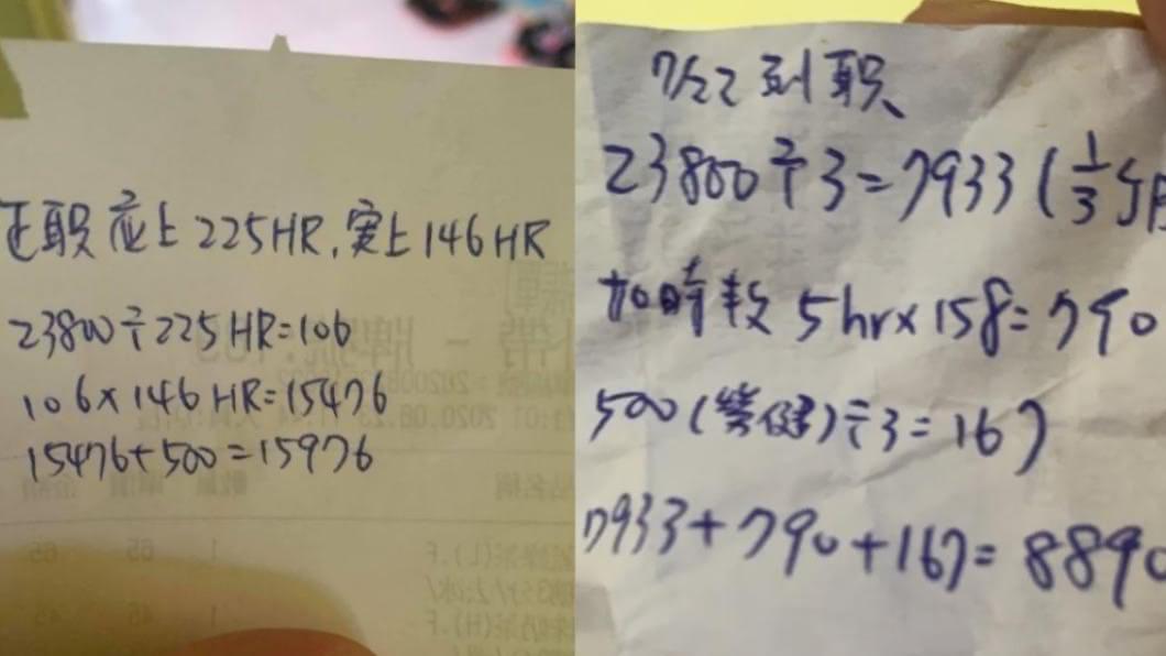 花蓮一名媽媽在網上PO出女兒打工的離奇薪資算法。(圖/翻攝自爆怨公社網站) 差太多!月薪23K變時薪106 老闆離奇算法惹眾怒