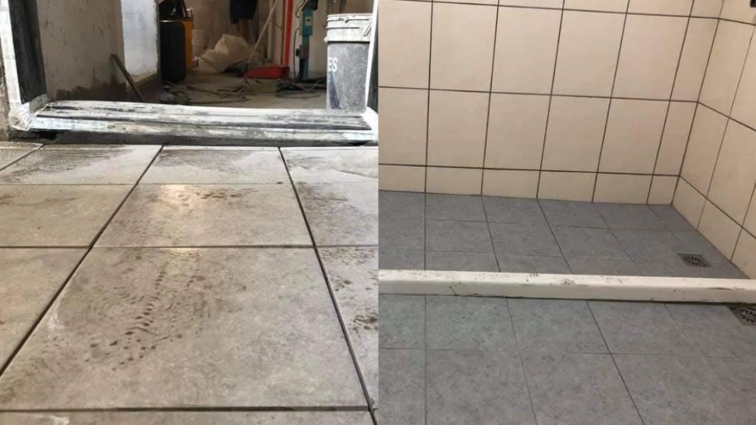網友抱怨浴室地板太傾斜。(圖/翻攝自爆怨公社) 浴室地板「超傾斜」…他怒叫師傅重做 行家曝真相:有用處