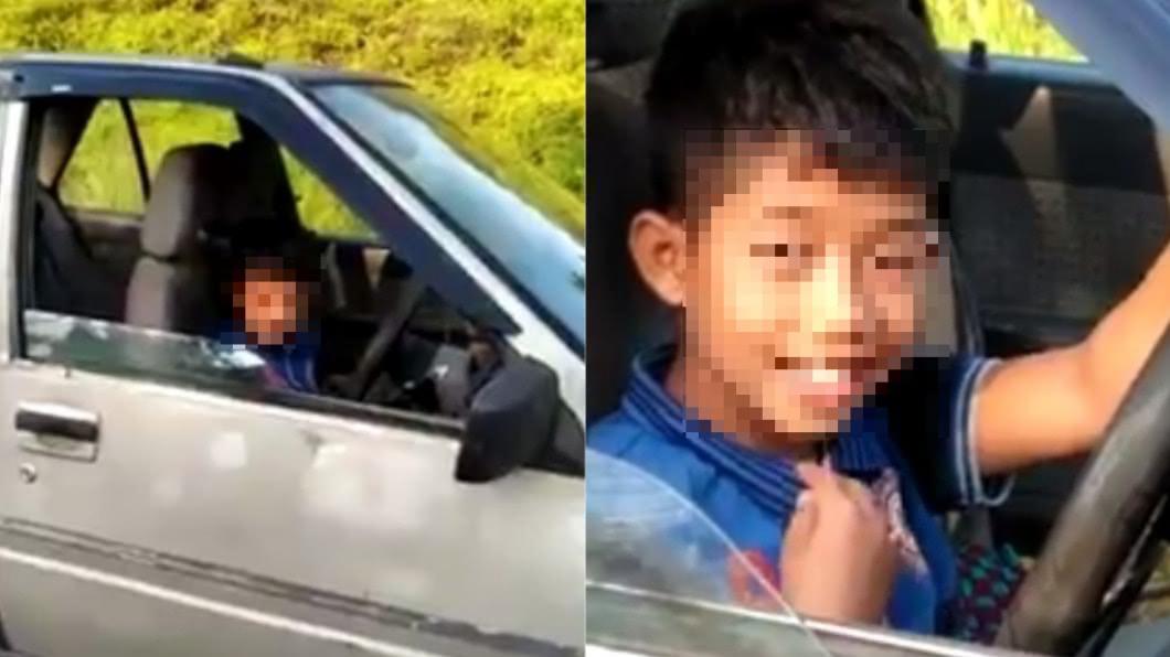 網友爆料,在路上遇到男童獨自開車兜風。(圖/翻攝自我們是馬來西亞人臉書) 9歲童開車「高速兜風」遭警起底...爸爸糗大了