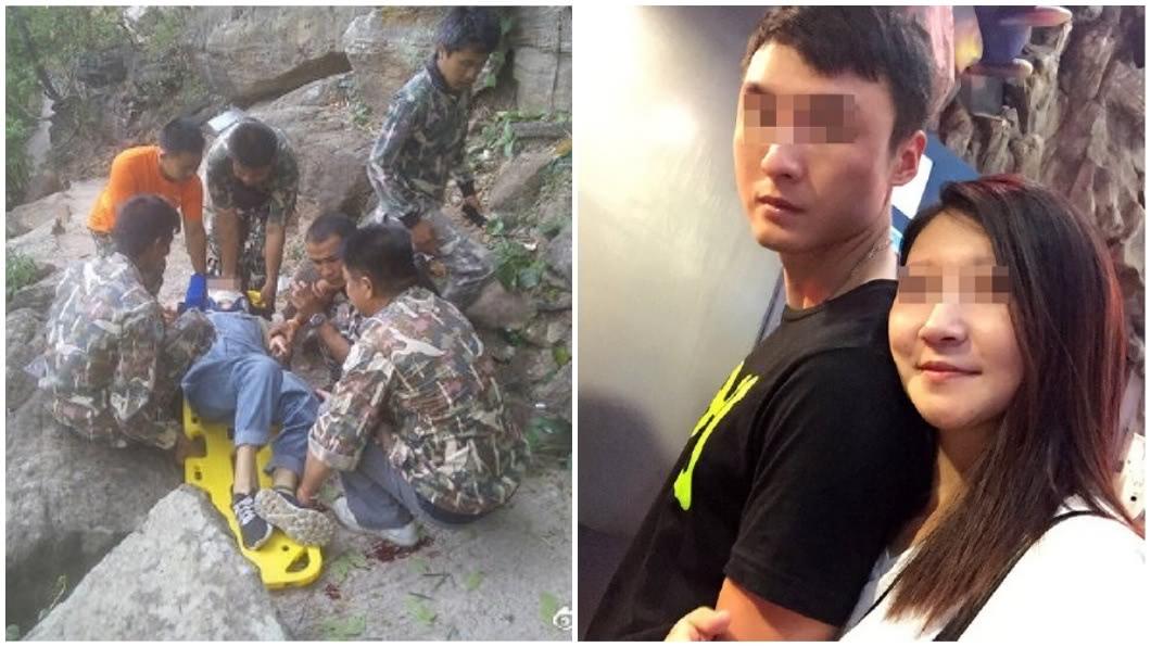 大陸一對夫妻去年到泰國旅遊時,竟發生丈夫把懷孕妻子推下山崖的恐怖事件。(圖/翻攝自微博) 被狠夫推下懸崖生還 孕妻泣訴:他環抱親完就嗆去死吧