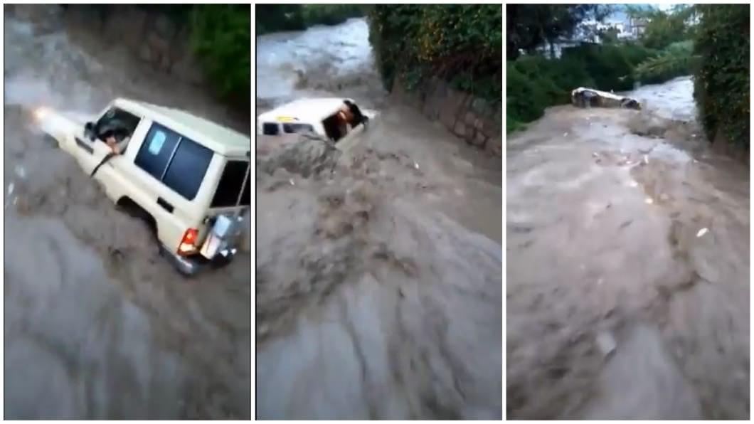 葉門一名人父堅持開車通過大洪水,最後車輛翻覆,造成車內六人死亡僅他獨活的悲劇。(圖/翻攝自推特合成) 開車遇到大洪水…莽父不聽勸強行通過 6人滅頂僅他獨活