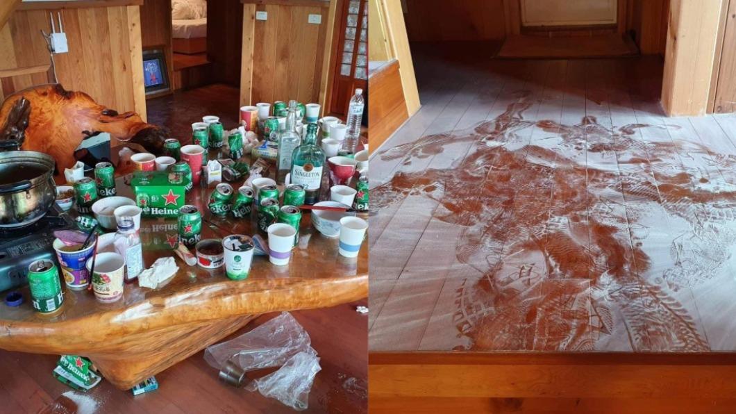 業者爆料,民宿內部遭客人惡搞破壞。(圖/翻攝自爆料公社) 房客「滅火器狂噴」拆桌搞破壞 民宿業者氣炸曝慘況