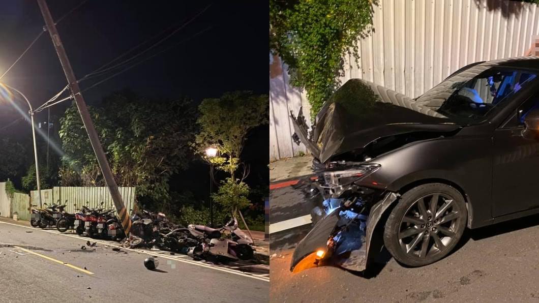男酒駕撞爛一排車。(圖/翻攝自臉書社團「爆怨公社」) 酒駕撞爛整排機車!男雙手一攤喊「沒錢賠」 受害者傻眼