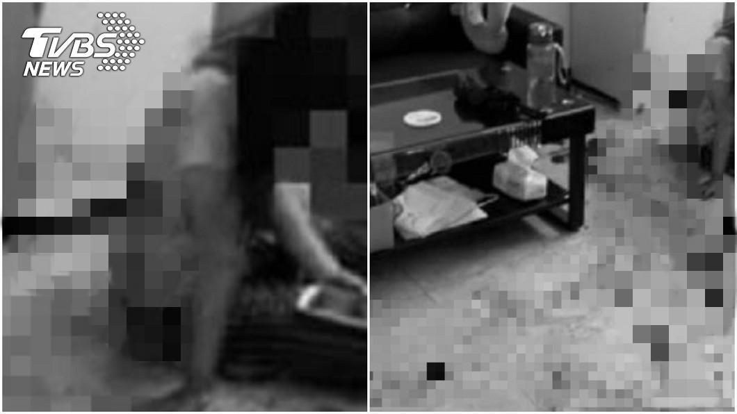 孕婦遭租客持剪刀猛刺。(圖/翻攝自臉書;圖片經變色、馬賽克處理) 租客騙漏水藏剪刀勒脖 孕婦「肚子遭刺」求:放過寶寶