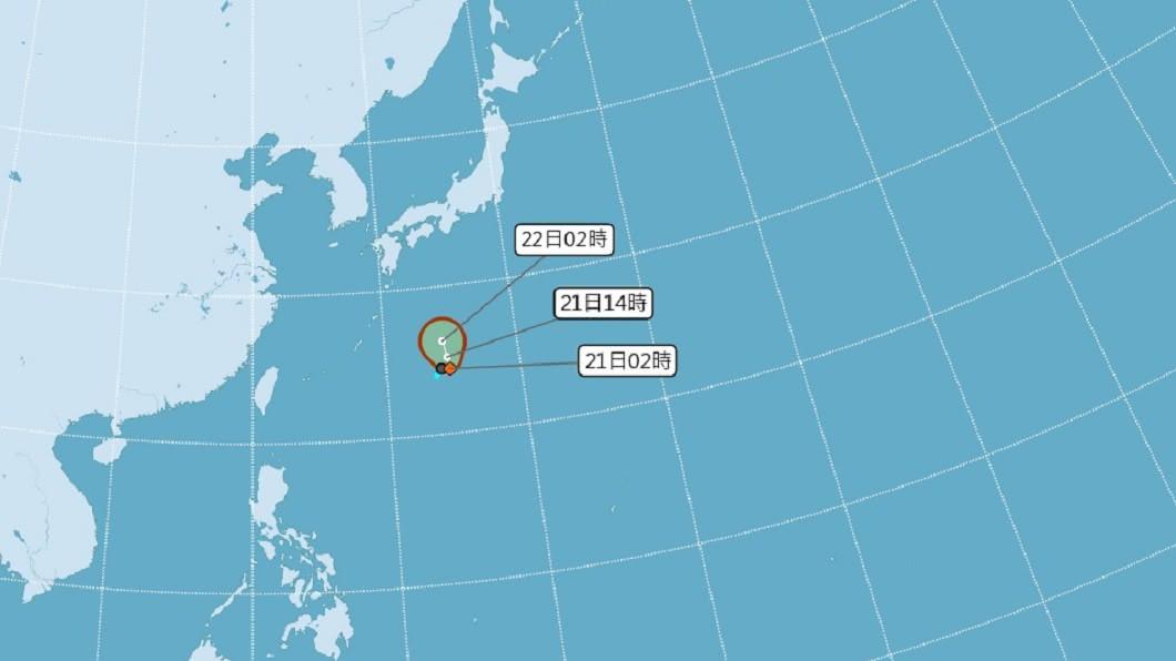(圖/中央氣象局) 熱帶低壓凌晨2時生成 專家:路徑預估近日本東部