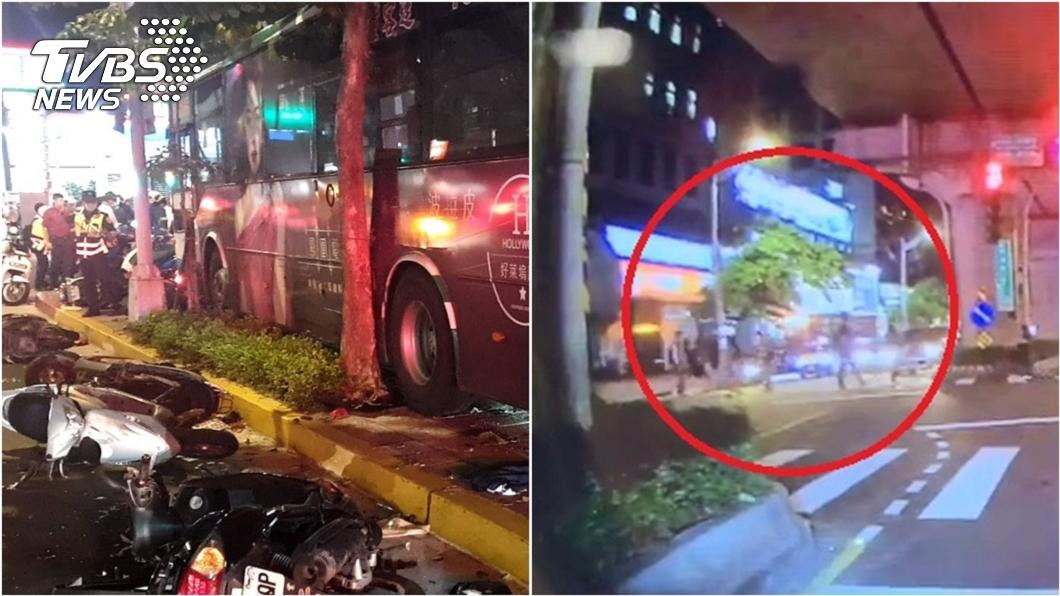 (圖/TVBS) 公車司機睡著衝人行道釀1死1重傷 驚悚影片曝光