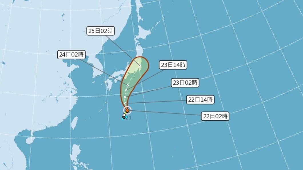 颱風白海豚朝日本前進,對台灣的天氣無影響。圖/中央氣象局) 東北風減弱各地多雲到晴 颱風白海豚朝日本前進