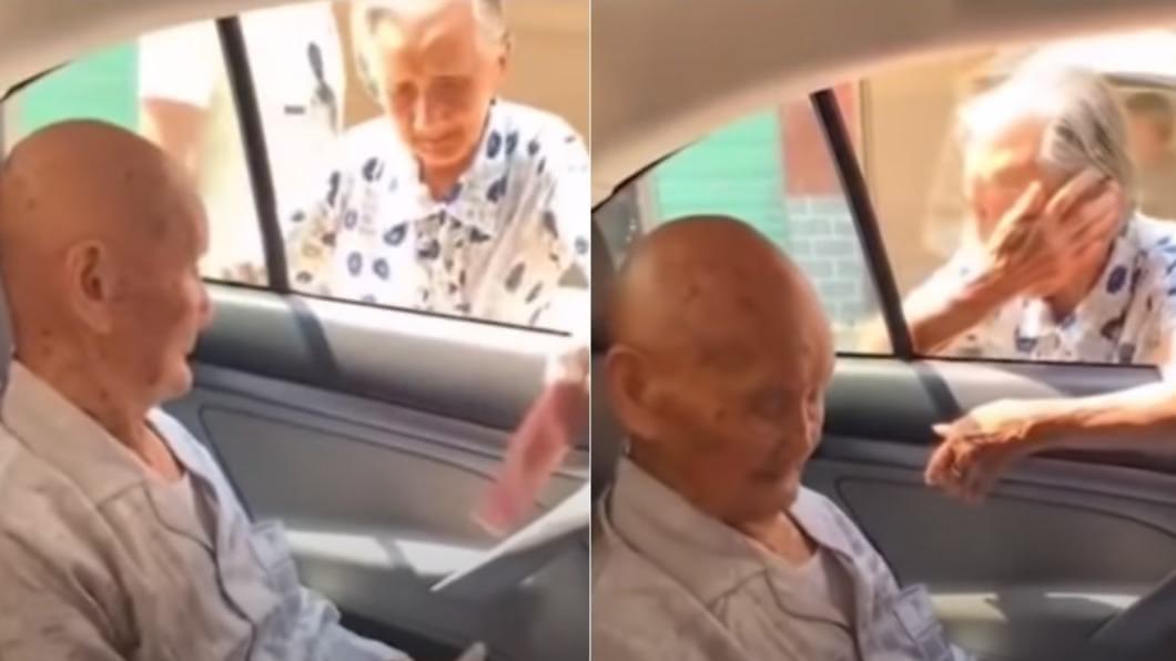 妹妹不捨哥哥,哭著追出來道別。(圖/翻攝自YouTube) 百歲哥離家門 96歲妹哭著追車:我們見一面少一面