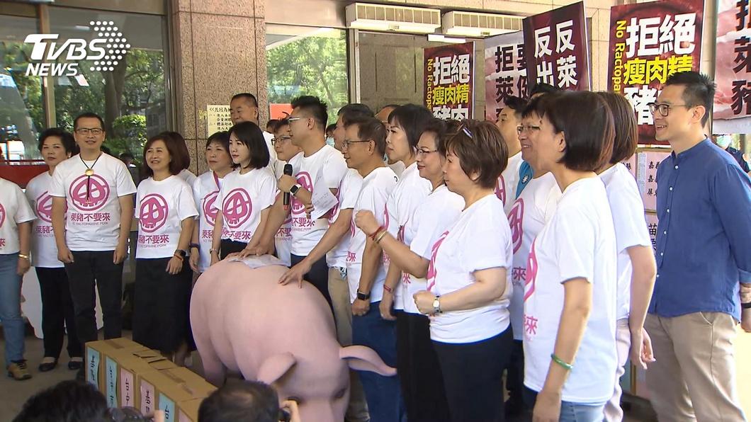 國民黨主席江啟臣今天領軍將反美豬公投第一階段連署書送至中選會。(圖/TVBS) 藍推反美豬公投 政院:持續溝通爭取民眾支持