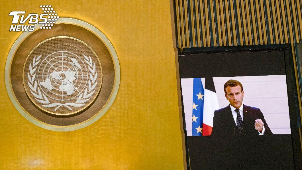 法國總統馬克洪在聯合國發表演說。(圖/達志影像美聯社) 拒絕任由美中鬥爭擺布 法總統籲凝聚現代新共識