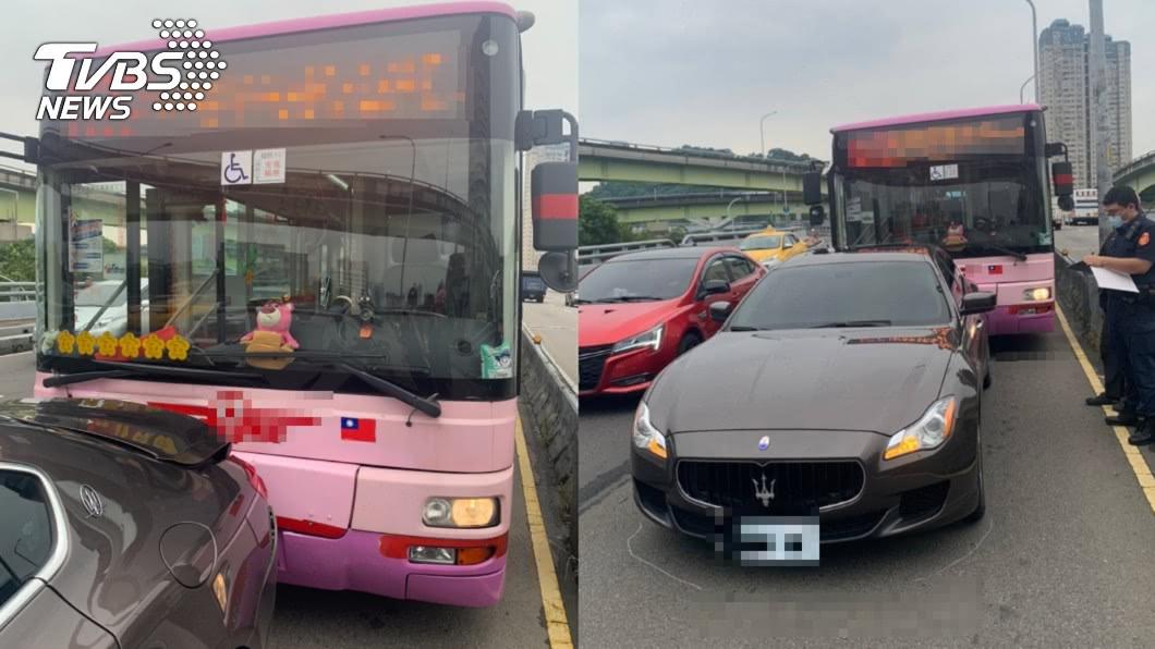 公車不慎擦撞海神。(圖/TVBS) 超貴車禍!公車疑未保持車距 撞凹「海神」保險桿哭了