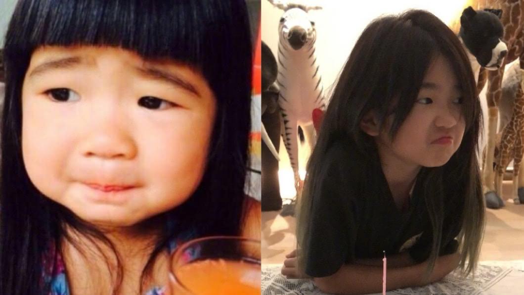 曹格女兒包子妹昨過10歲生日。(圖/翻攝自微博) 曹格愛女「包子妹」招牌肉臉消風 搞怪慶生照差很大