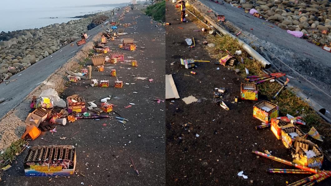 台南「黃金海岸」連假後沿路躺滿垃圾。(圖/翻攝自臉書社團「爆怨公社」) 連假亂象!台南「黃金海岸」垃圾躺一地 網怒:素質低落