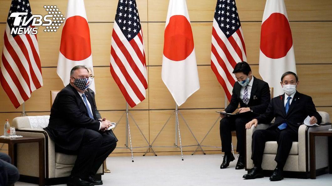 日相菅義偉與美國務卿龐佩奧舉行會談。(圖/達志影像美聯社) 日相菅義偉見龐佩奧 確認日美緊密合作