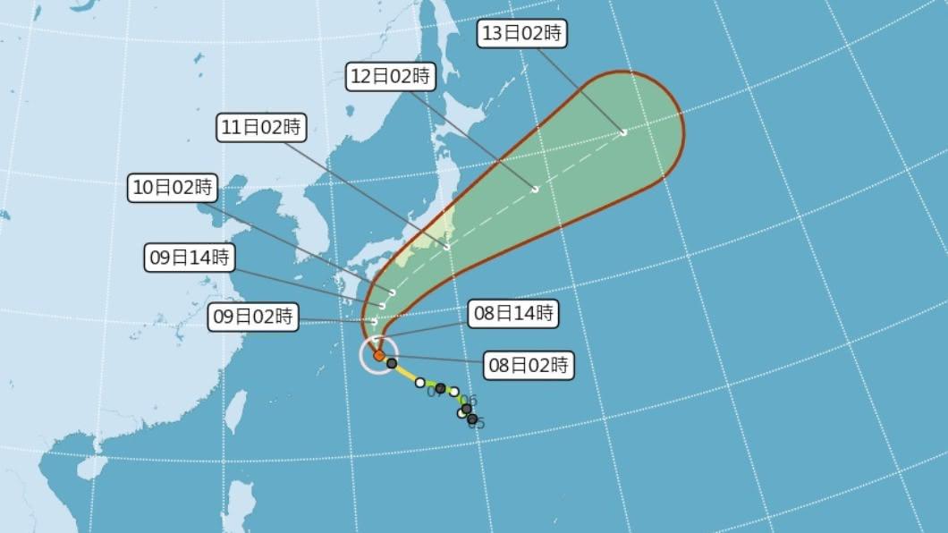 颱風昌鴻明天起逼近西日本。(圖/中央氣象局) 颱風昌鴻逼近日本恐登陸 氣象廳提醒防大雨