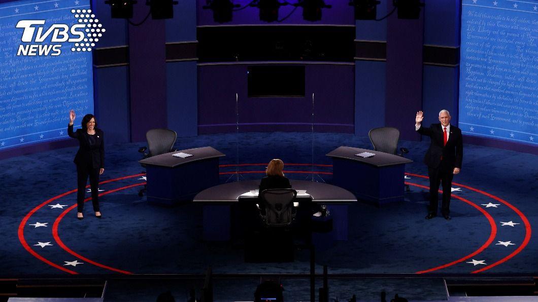 美國副總統辯論登場。(圖/達志影像路透社) 美國副總統辯論登場 彭斯、賀錦麗上台不握手