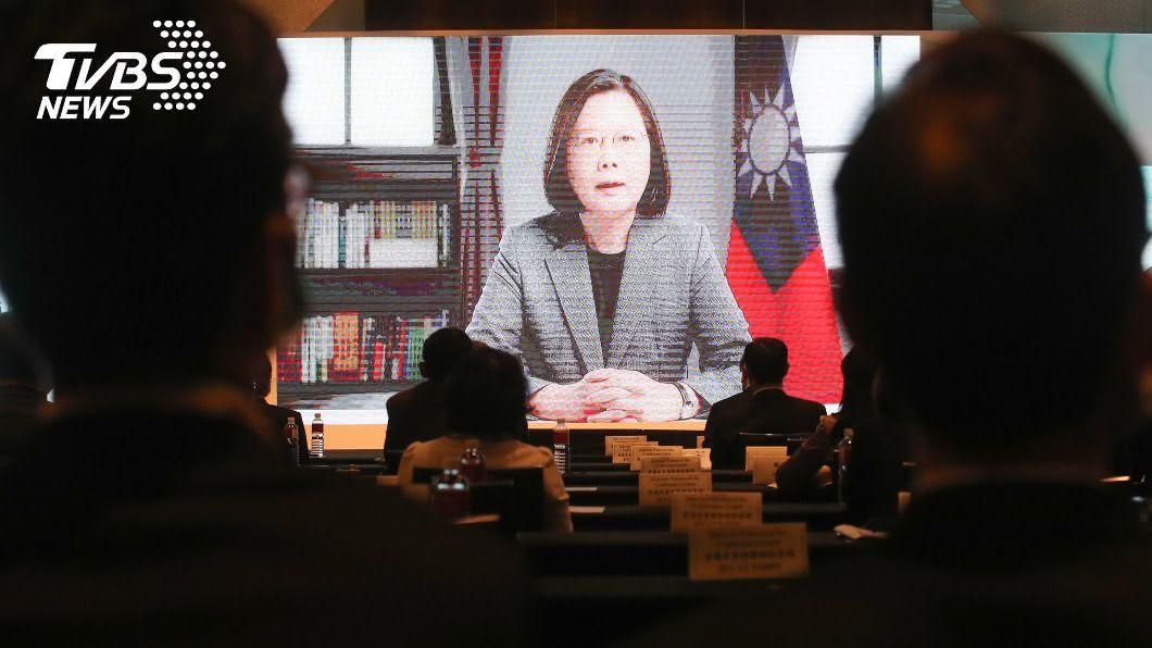 總統蔡英文透過預錄影片致詞。(圖/中央社) 蔡英文:台灣尋求加入CPTPP 分享經驗做出貢獻