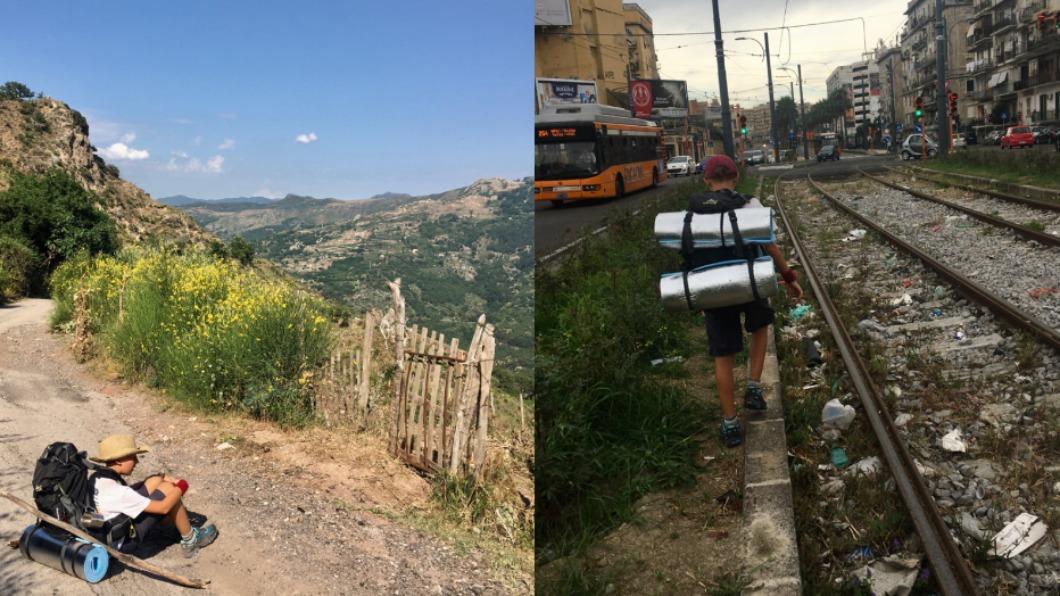 男孩徒步從義大利走到英國。(圖/翻攝自Romeo's Big Journey Home臉書) 航班全停…11歲童為見阿嬤 徒步2千公里「走到英國」