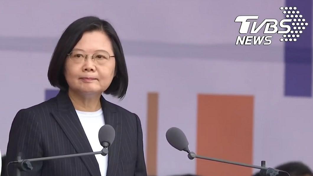 蔡英文今日發表國慶演說。(圖/TVBS) 蔡英文國慶提「台灣」35次 網:首次看人慶生講地址