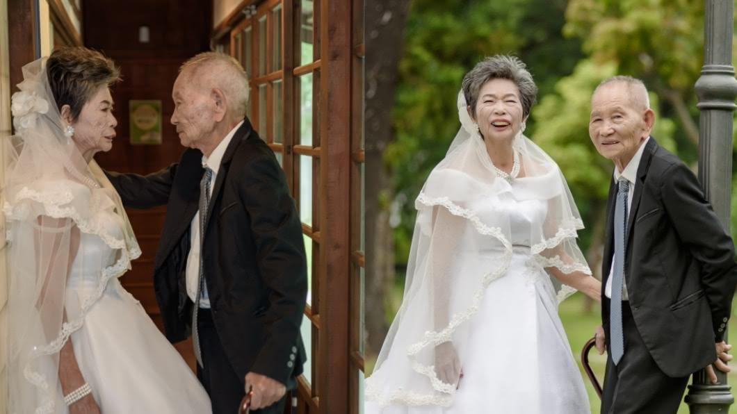 老夫婦結婚70年,終於有機會拍婚紗。(圖/大同技術學院提供) 結縭70年首次拍婚紗 阿嬤被「壁咚」直呼:好害羞