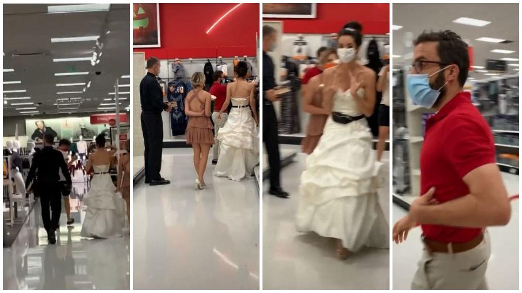 國外一名女子不滿男友求婚2年了卻遲遲不結婚,直接穿著婚紗到男友上班的公司逼婚。(合成圖/翻攝自TikTok) 超狂逼婚!女穿婚紗帶伴娘牧師 直闖男友公司就地結婚