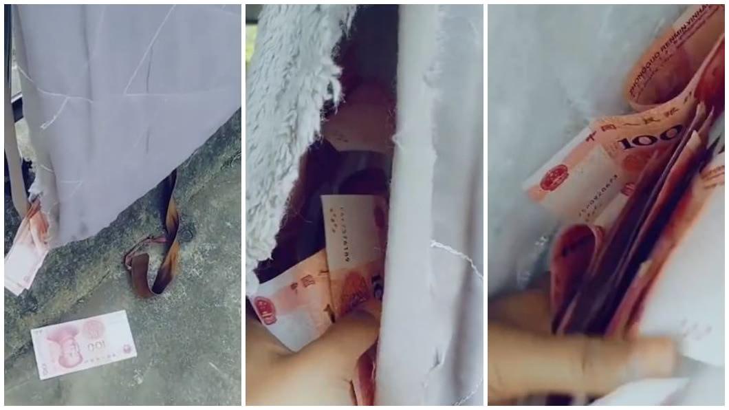 河南一名人妻日前曬床墊時,意外發現老公偷藏的私房錢。(圖/翻攝自微博) 夫藏私房錢在床墊 妻曬太陽驚見「大量鈔票」爽拿買車
