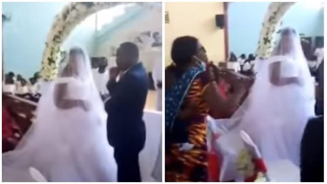 尚比亞一名人夫和小三在教堂結婚,正宮得知後到場大鬧。(合成圖/翻攝自YouTube) 夫稱去出差卻和小三結婚 正宮闖婚禮怒吼:他是我老公