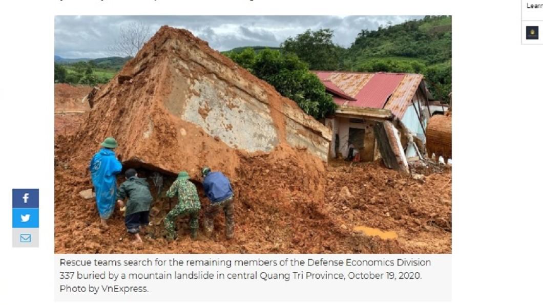 (圖/翻攝自VnExpress) 越南土石流活埋22官兵 倖存者:無助與心碎