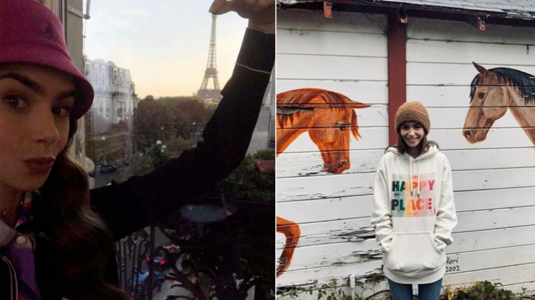 女星莉莉柯林出演的影集《艾蜜莉在巴黎》目前熱播中。(圖/翻攝自Lily Collins臉書) 解密莉莉柯林瘦身大法 「乾淨飲食」蔬果汁不離身
