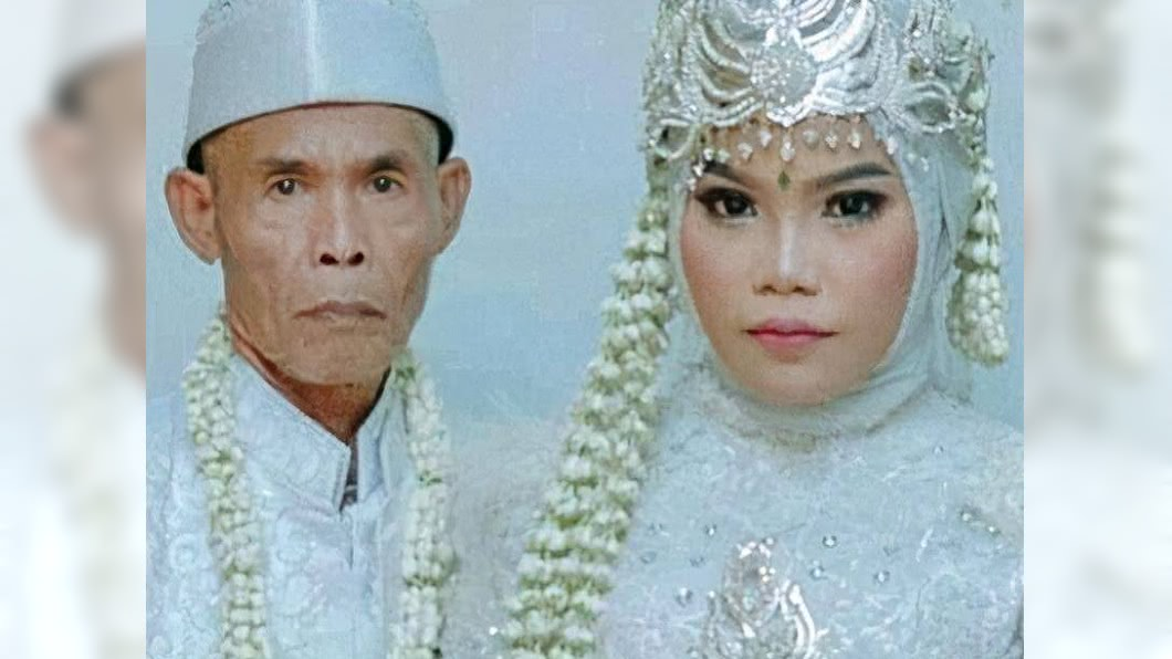 (圖/翻攝自《光華網》) 53歲爺孫戀!迎娶18歲新娘 老翁羞吻妻:想再生一個孩子