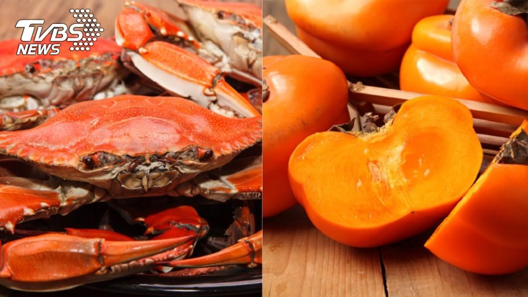 坊間口耳相傳「蟹和柿子同時吃會中毒」。(示意圖/shutterstock 達志影像) 螃蟹柿子同時吃會中毒? 食藥署揭「神奇真相」