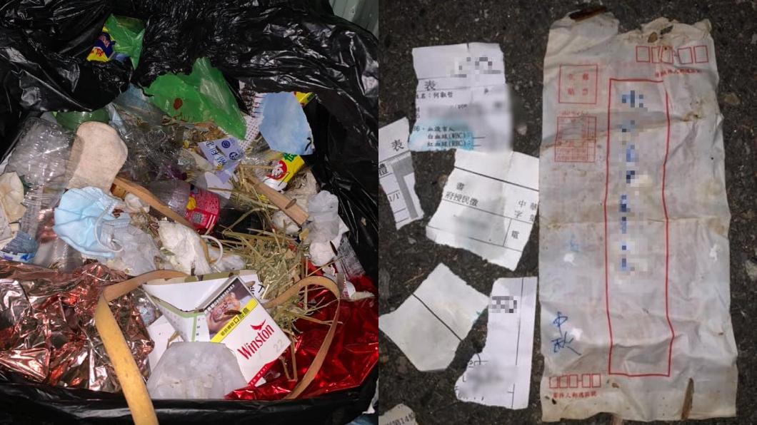 (圖/翻攝自爆廢1公社) 惡鄰扔3包垃圾蛆狂蠕 男怒挖出「20K薪資袋」揪凶手