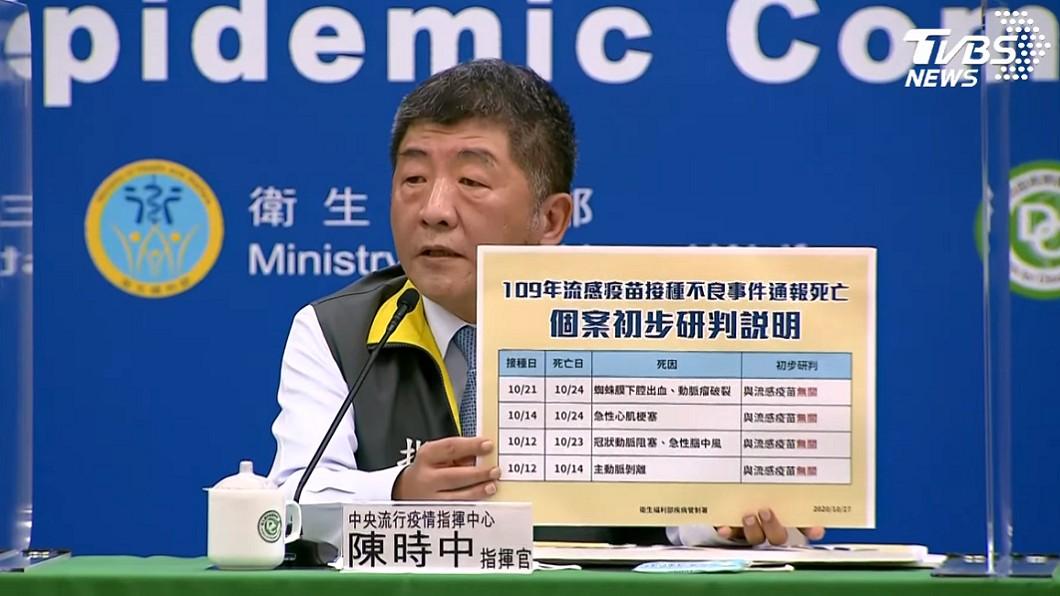 陳時中表示,疫苗不良事件通報不等於疫苗有副作用。(圖/TVBS) 接種流感疫苗後4死亡 陳時中:不會停止施打
