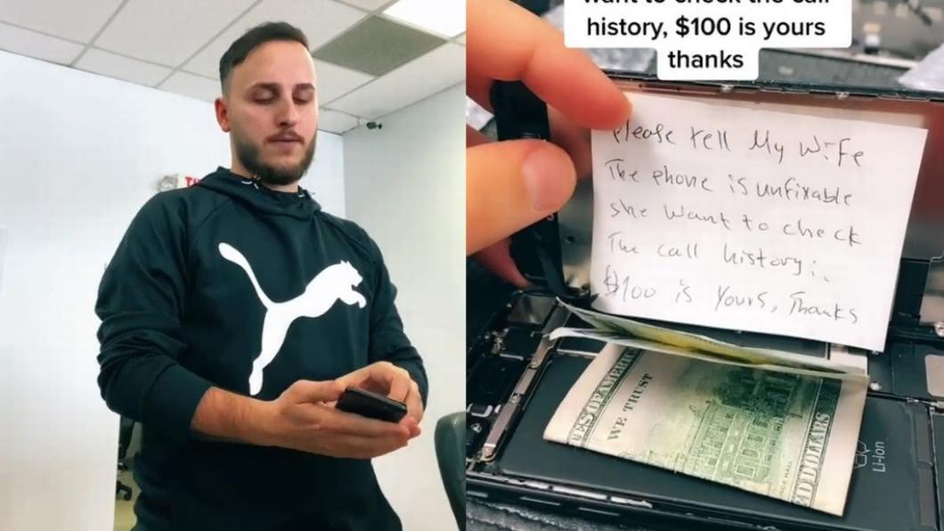 人夫送修手機時,在機殼內暗藏現金和紙條。(圖/翻攝自mirror) 男送修手機藏「救援紙條」 店員反揭真相妻秒氣炸