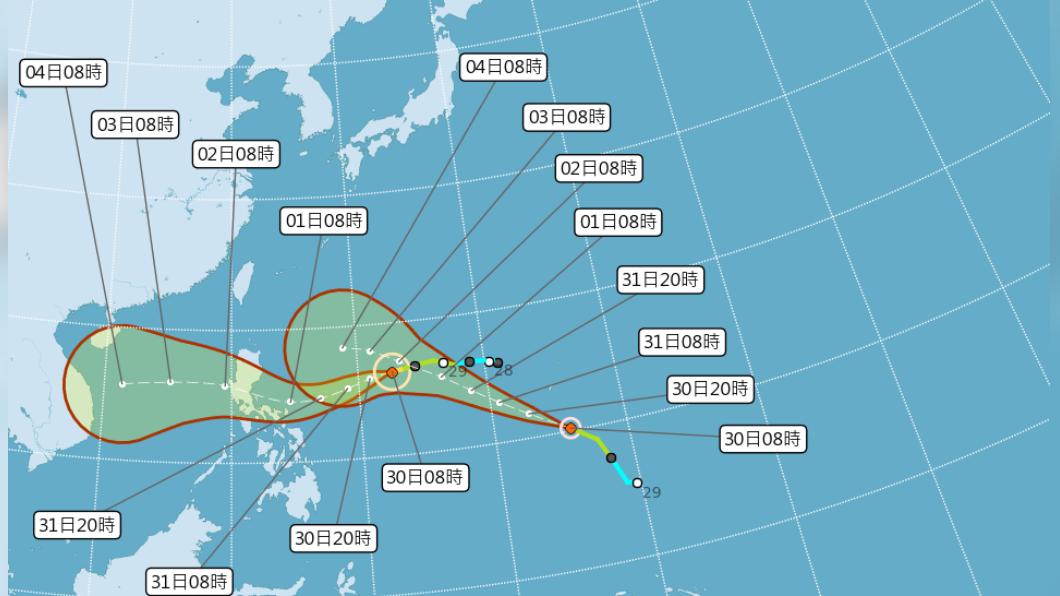 (圖/中央氣象局) 10月7個颱風史上第2多 閃電路徑強度不確定性大