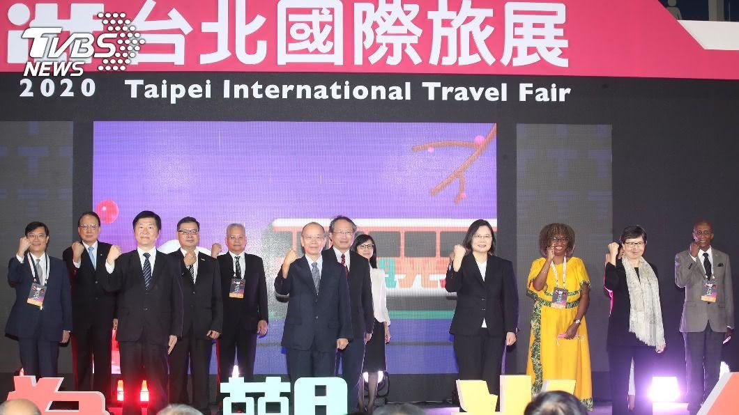 總統蔡英文出席台北國際旅展。(圖/中央社) 蔡總統出席旅展為觀光人打氣 承諾助業者度難關