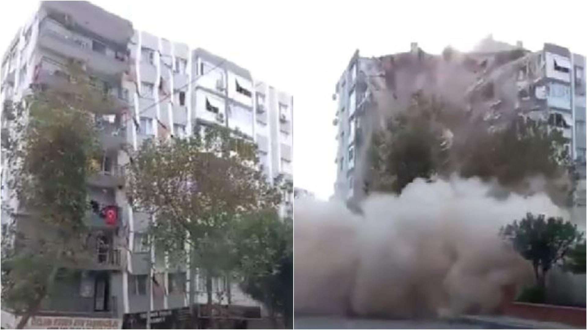 愛情海7.0強震,逾20建築物倒塌。(圖/翻攝自Twitter) 愛琴海7.0強震!土耳其樓倒釀4死152傷 驚悚畫面曝