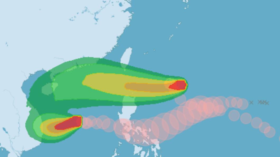 颱風「閃電」預測打轉後朝西往巴士海峽移動。(圖/中央氣象局) 「不排除發陸警」閃電颱風週五最近台 降雨時間曝