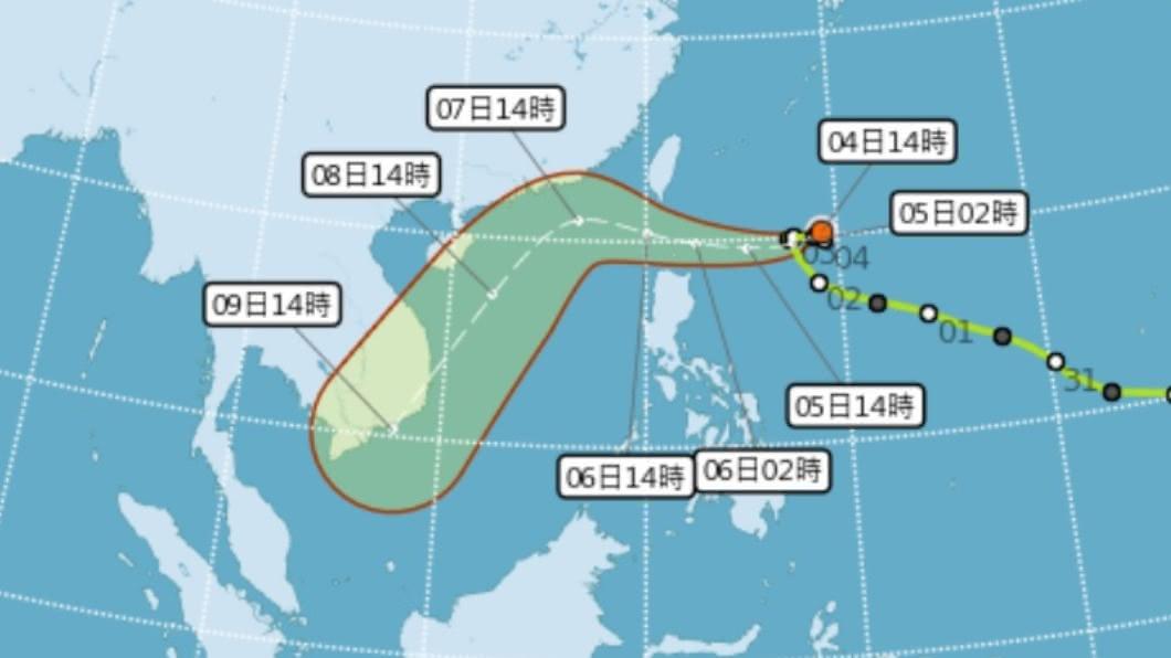 (圖/中央氣象局) 颱風閃電西進路線偏北 最快5日清晨發布海警