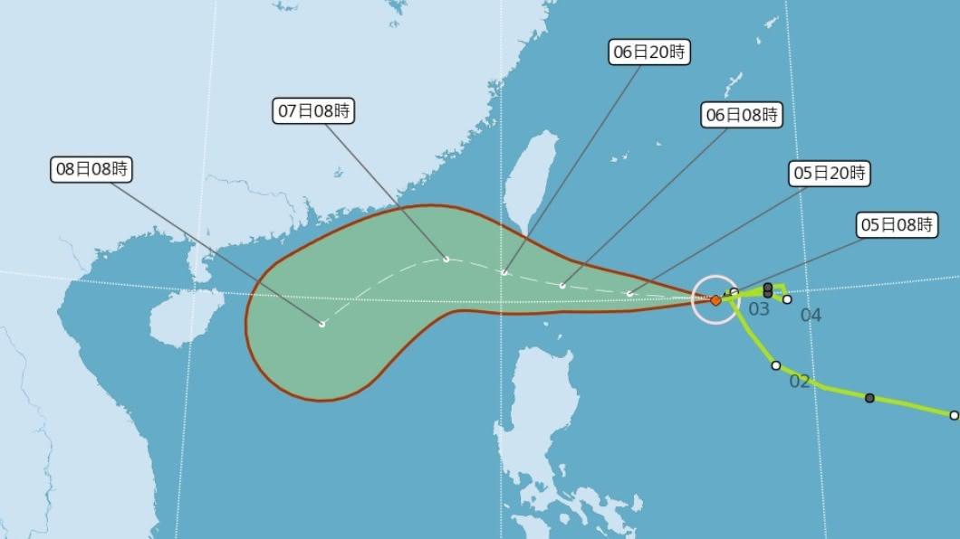 (圖/中央氣象局) 輕颱閃電海警發布 氣象局:路徑續偏北不排除發陸警