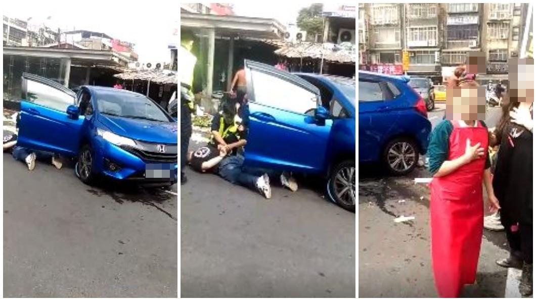 警方在華中橋執行路檢勤務時,一輛轎車駕駛拒絕被攔查撞進魚市場。(圖/翻攝自臉書社團「我是萬華人」) 警攔查通緝犯拒停車受檢 一路衝進魚市場險撞傷攤販