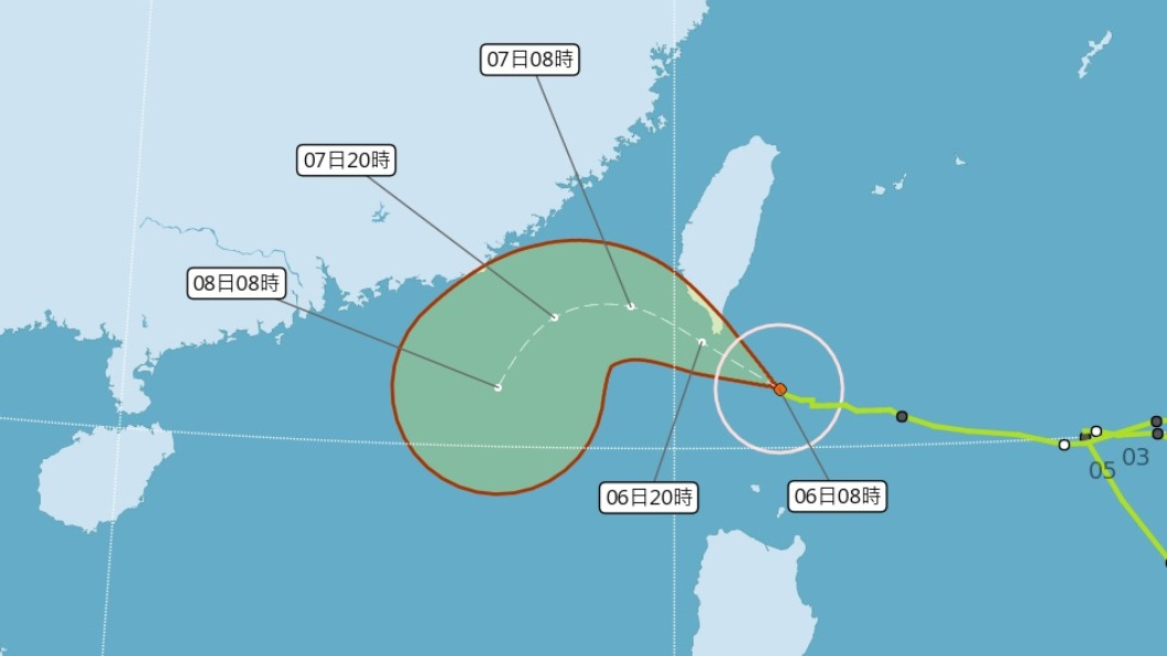 (圖/中央氣象局) 閃電颱風今最靠近台 花東、屏東留意大雨或豪雨