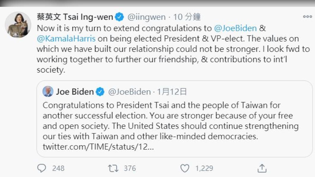圖/翻攝自@iingwen推特 快訊/轉發年初賀電! 蔡總統推特恭喜拜登當選