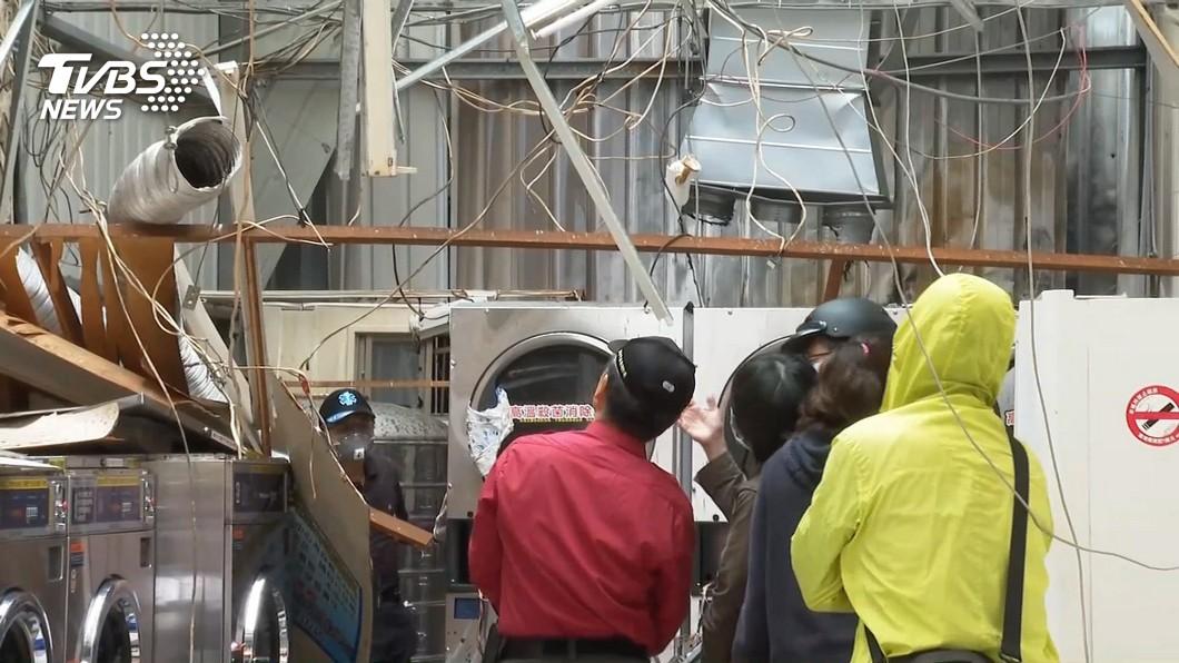 瓦斯桶應置於室外或通風處。(圖/TVBS) 台南洗衣店氣爆4人傷 消防局籲:瓦斯桶應置室外