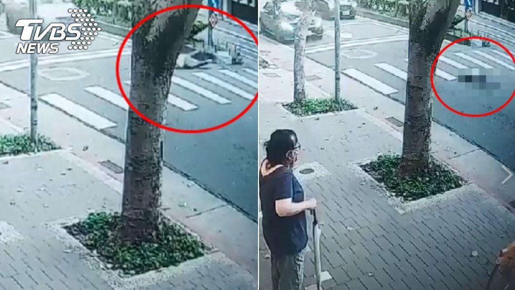 男子絆到安全島跌倒後,遭來車輾過身亡。(圖/TVBS) 巡查員抓包亂丟垃圾!行人「轉頭落跑」遭輾亡