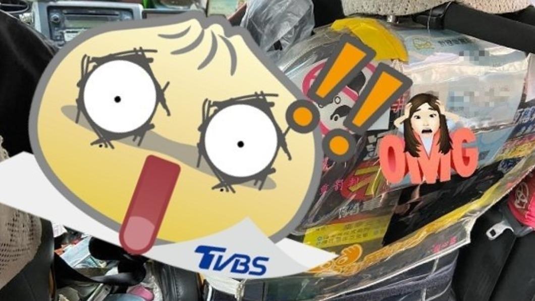 女子搭計程車,驚見司機把雜物塞滿車內。(圖/翻攝自臉書社團爆料公社二社) 她搭小黃見「家當淹整車」 心酸場面掀網激戰