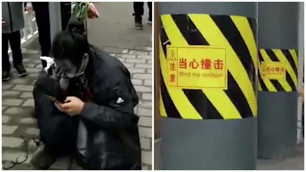 重慶一名男子走路只顧著滑手機,人撞上電線桿,鏡片破裂刺傷眼球血流如注。(圖/翻攝自重慶晨報) 男走路只顧滑手機 頭撞電線桿鏡片刺破眼球噴血繼續玩