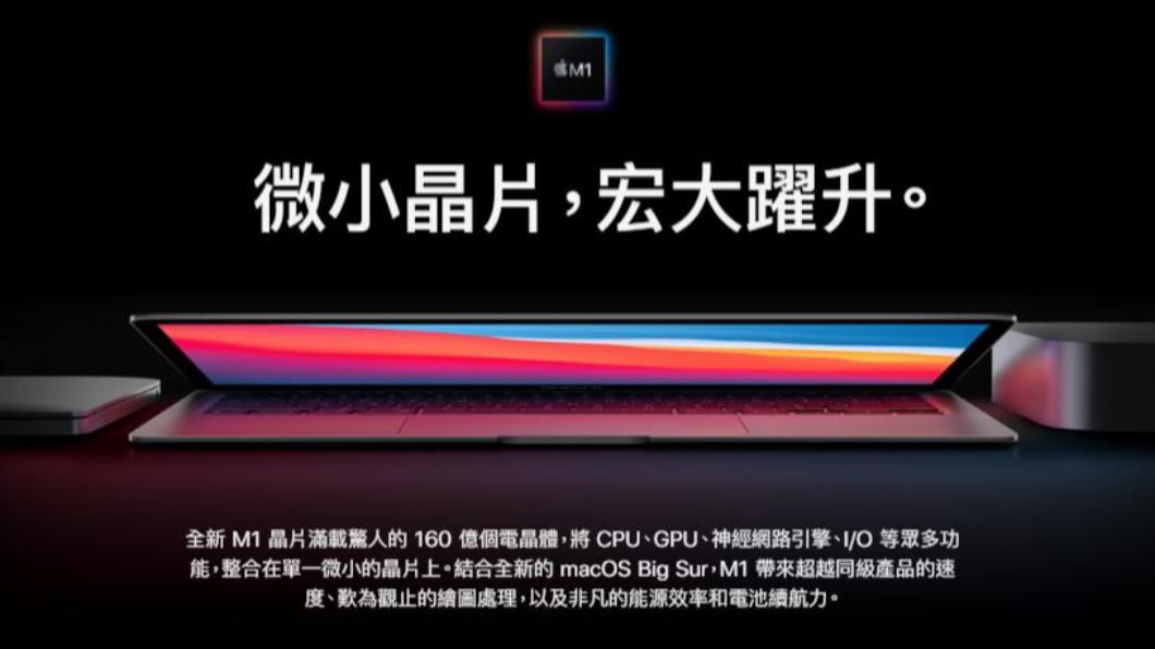圖/翻攝自APPLE 官網(www.apple.com) 蘋果電腦告別Intel! 自推M1晶片電池壽命翻倍