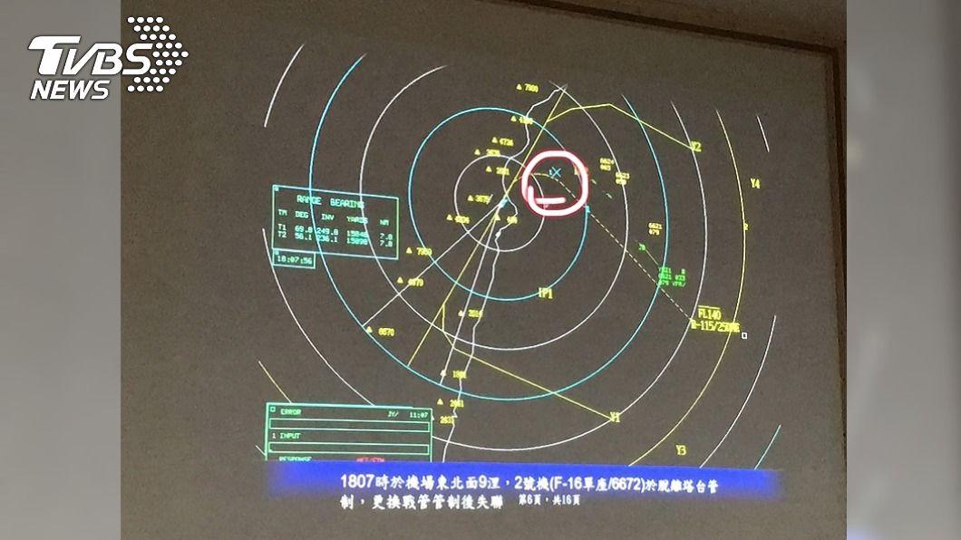 失聯F-16A戰機雷達光點最後位置。(圖/中央社) F-16戰機失聯 海軍、海巡分8區塊搜救